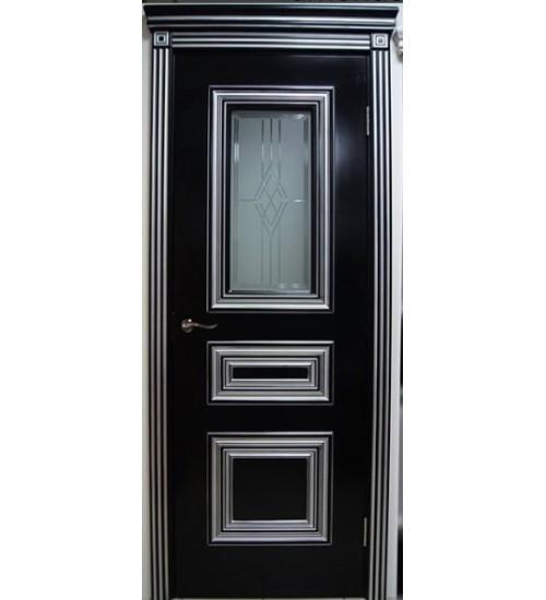 Дверь Анастасия багет эмаль черная с патиной