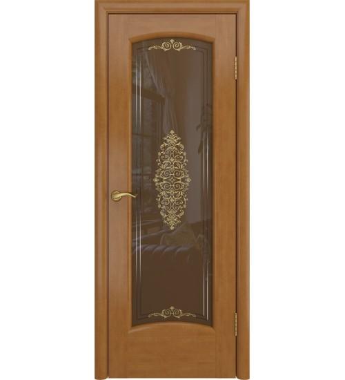 Шпонированная дверь Верона анегри стекло Заливка бронза