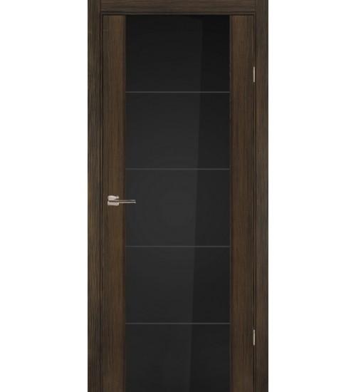 Дверь 3/3 Ладора черное стекло гравировка