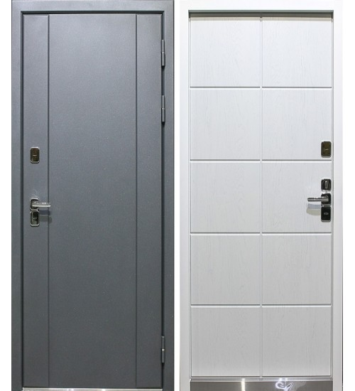 Уличная дверь Агат ТД-1 термо серый муар/лапачо милк
