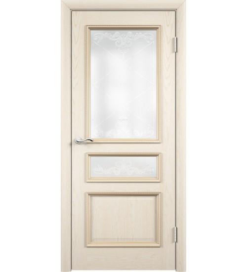 Дверь Граф витраж Карамель ясень жемчуг