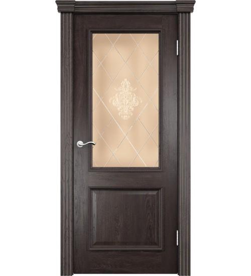 Дверь Лорд контурный витраж бронза дуб патинированный