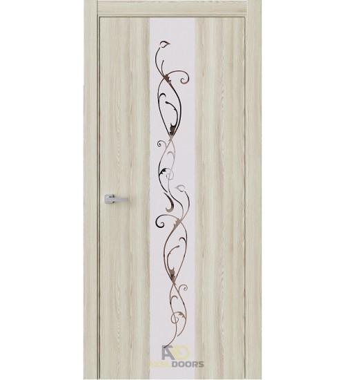 Дверь Estet Экзотика-3 зеркало с матировкой клен экрю