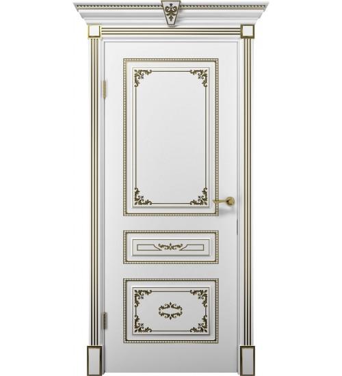 Дверь Эмилия ДГ белая эмаль с патиной золото