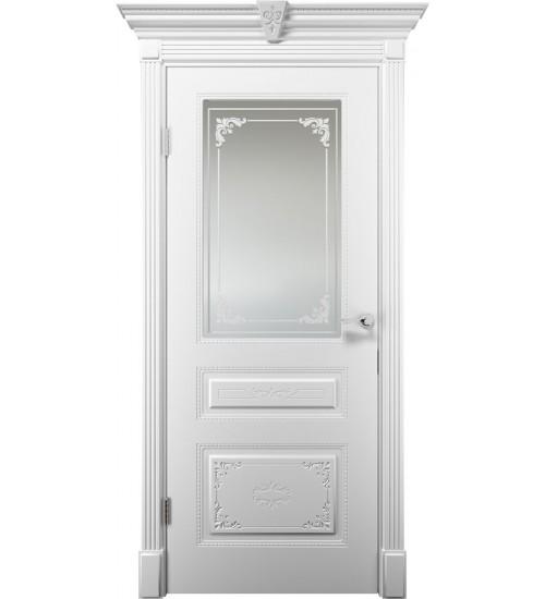 Дверь Эмилия сатинат матовое белая эмаль