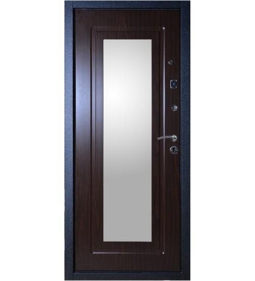 Стальная дверь Аргус Фактор 5 черный шёлк/венге с зеркалом