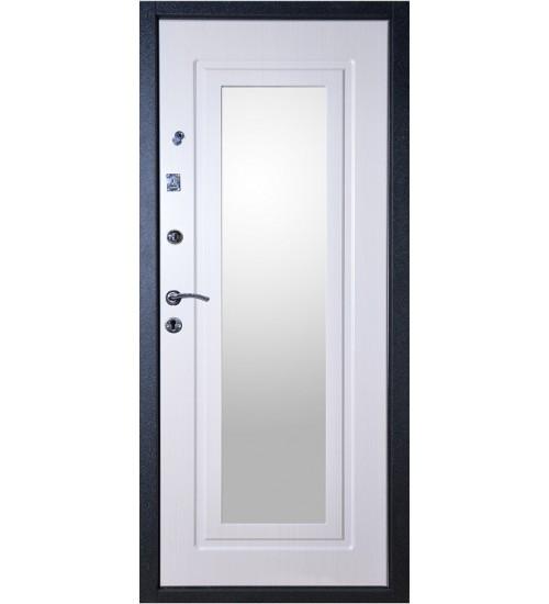 Стальная дверь Аргус Фактор 6 черный шёлк/беленый дуб с зеркалом