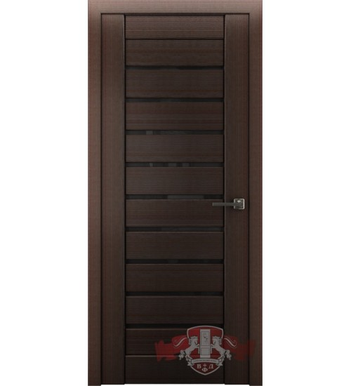Дверь ВФД Л3ПГ4 черное стекло венге