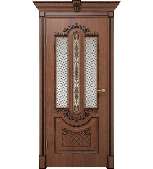 Дверь Олимпия дуб янтарный патина черная стекло сатинат матовое