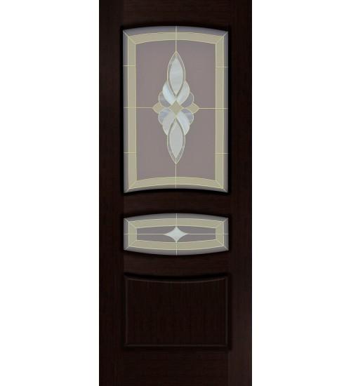 Дверь шпонированная Персей ПО витраж Россич