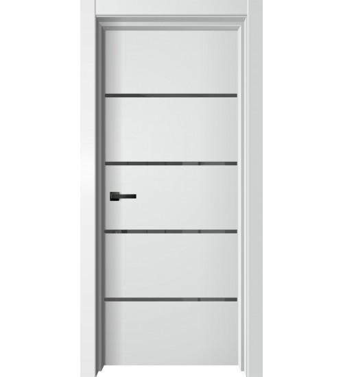 Дверь Premiata-3 софт белый, черный лакобель, алюм кромка черная