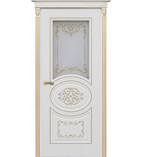 Дверь Президент ДО белая эмаль, патина золото