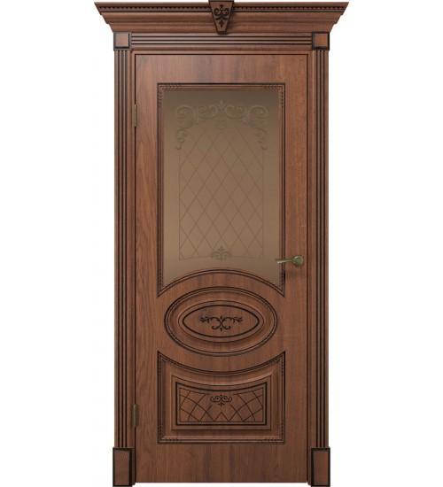 Дверь Вителия дуб янтарный патина черная стекло сатинат бронза