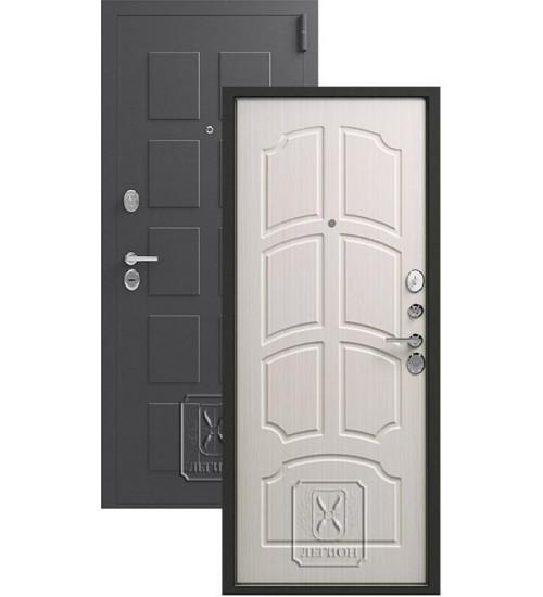 Металлическая дверь Легион L-5 серый блеск/лён светлый
