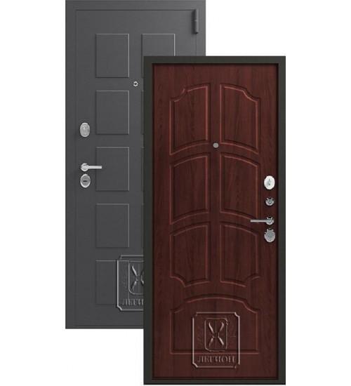 Металлическая дверь Легион L-5 серый блеск/орех