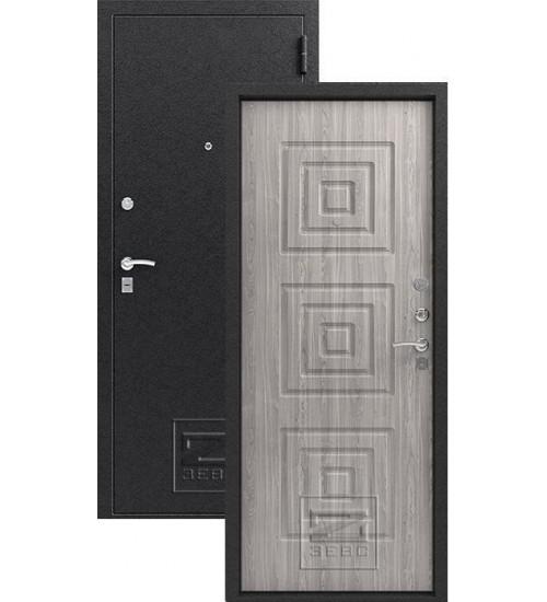 Металлическая дверь Зевс Z-4 серебро/серое дерево