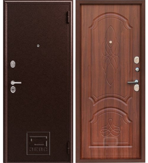 Металлическая дверь Зевс Z-6 медь/орех