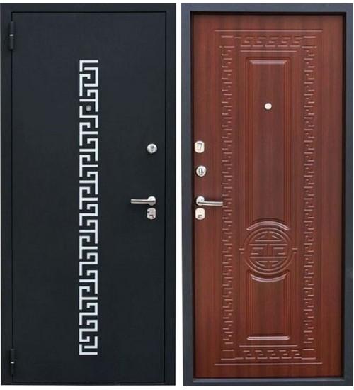 Металлическая дверь Зевс Z-5 Греция черный шелк с перфорацией/орех южный