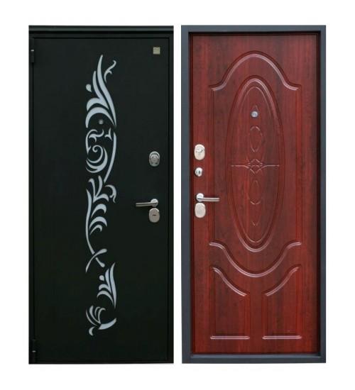 Металлическая дверь Зевс Z-7 черный шелк/махагон