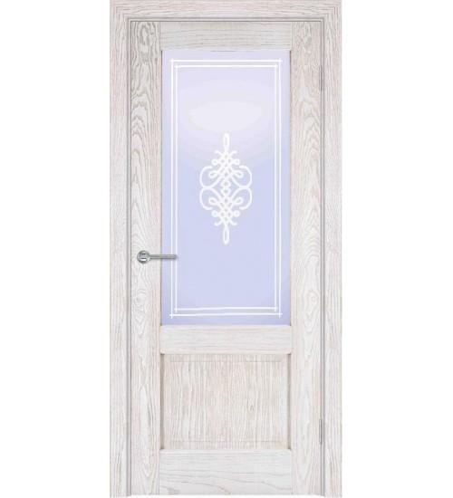 Дверь шпонированная А1-2 стекло Вензель ясень снежинка/Альфа