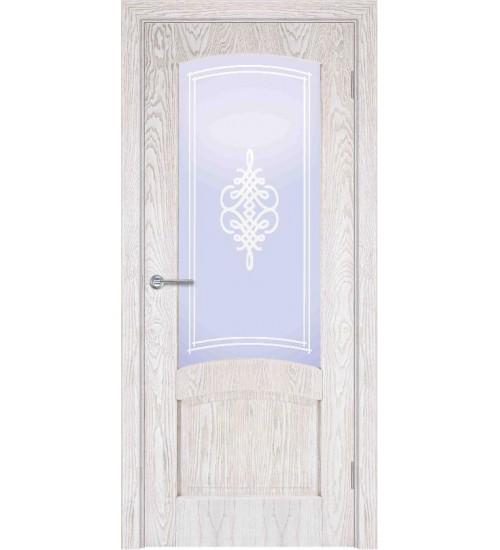Дверь шпонированная Б1-2 стекло Вензель ясень снежинка/Альфа