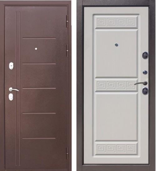 Входная дверь Троя антик медь/белый ясень