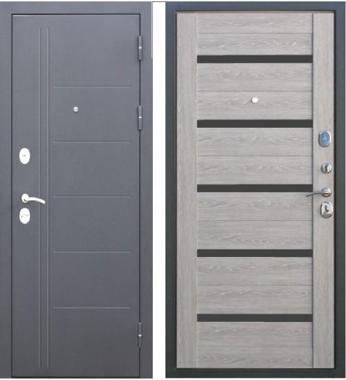 Стальная дверь Троя 10см серебро дуб дымчатый