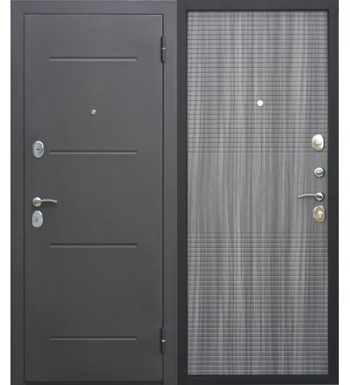 Стальная дверь Гарда 75мм черный муар/венге тобакко