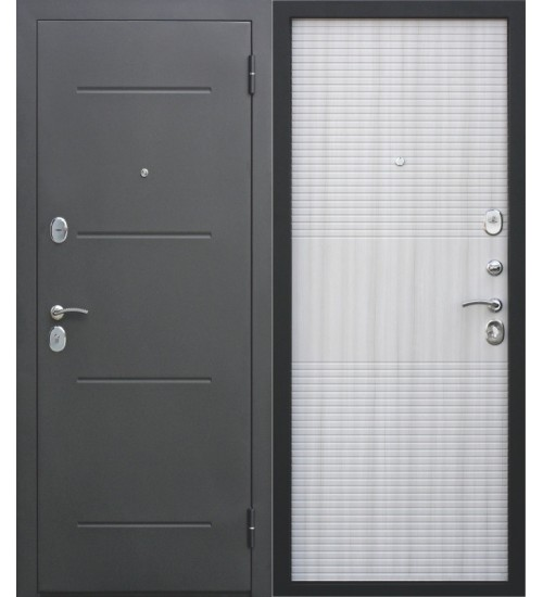 Стальная дверь Гарда 75мм черный муар/ясень белый