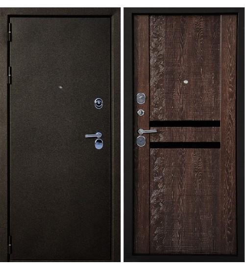 Стальная дверь Эталон А-8 черный муар/коньяк
