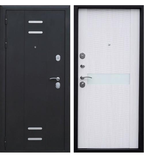 Стальная дверь Эталон А-9 черный шелк/беленый дуб