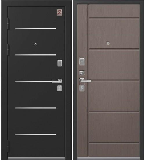 Металлическая дверь Центурион, LUX-2, черный муар/софт ясень грей