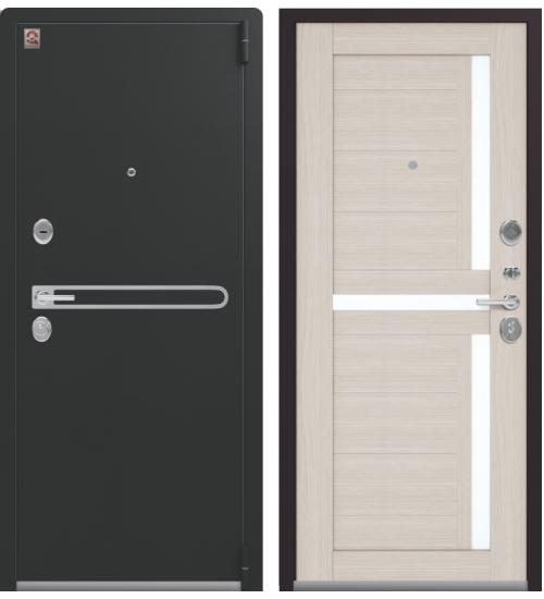 Металлическая дверь, Центурион, LUX-3, черный муар/лиственница светлая