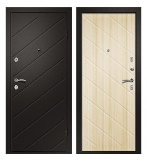 Стальная дверь Ника-121 черный сатин/светлый дуб