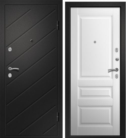 Стальная дверь Ника-121 черный сатин/софт айс