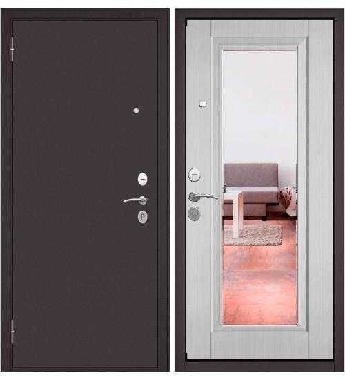 Входная дверь Бульдорс Start Сияние букле шоколад/ларче бьянко зеркало