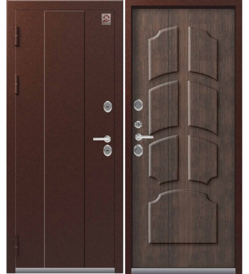 Металлическая дверь Т-4 Центурион антик медь/тиковое дерево