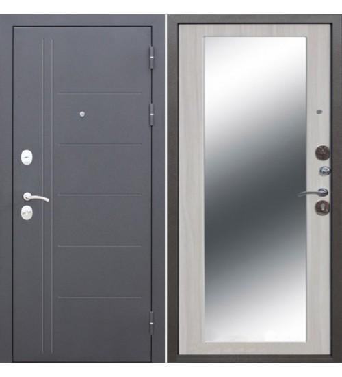 Стальная дверь Троя 10см серебро MAXI зеркало ясень белый