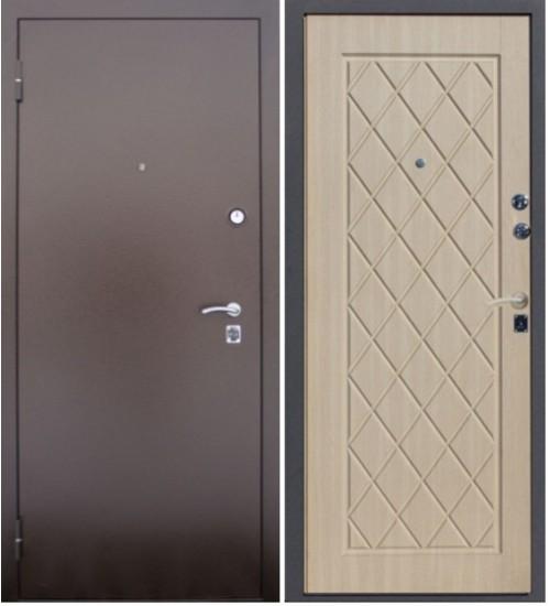 Стальная дверь Алмаз черный крокодил/беленый дуб