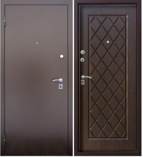 Стальная дверь Алмаз шелк бордо/тиковое дерево