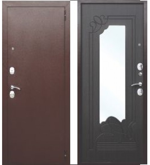 Стальная дверь Ампир медь/венге с зеркалом