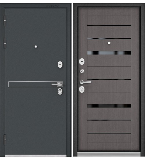 Входная дверь Бульдорс Standart-90 Аристократ черный шелк/дуб графит матовый