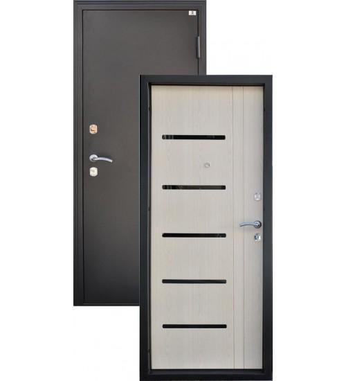 Входная дверь Аврора черный металлик/беленый дуб