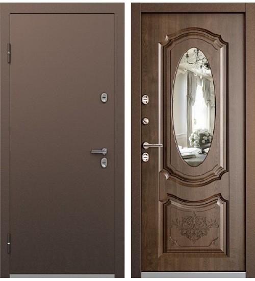 Стальная дверь Бульдорс Термо-2 антик медь/орех грецкий