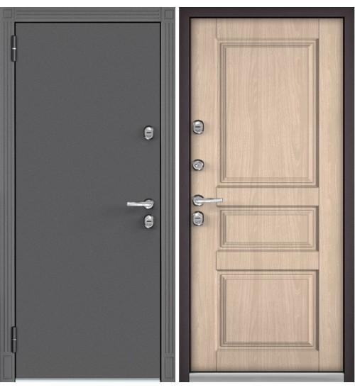 Входная дверь Бульдорс TERMO-100 TD-2 букле графит/ясень ривьера крем