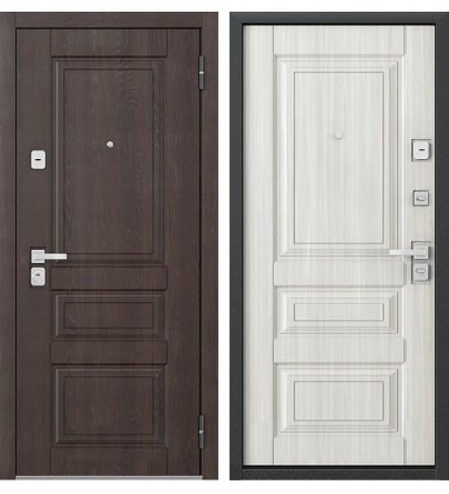 Стальная дверь Бульдорс-45 дуб шоколад/дуб перламутр