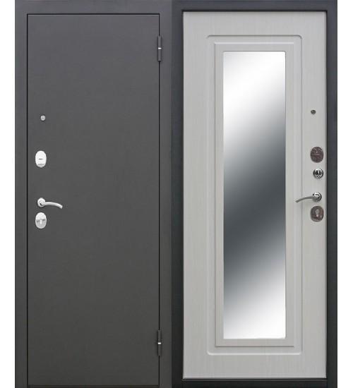 Входная дверь Царское зеркало черный муар/белый ясень