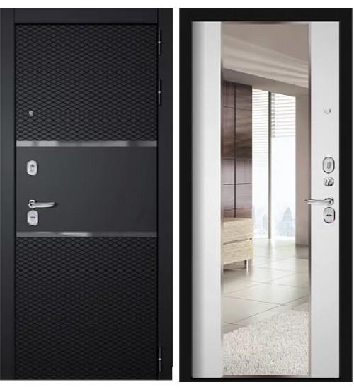 Стальная дверь Диамант черненое серебро/беленый дуб зеркало