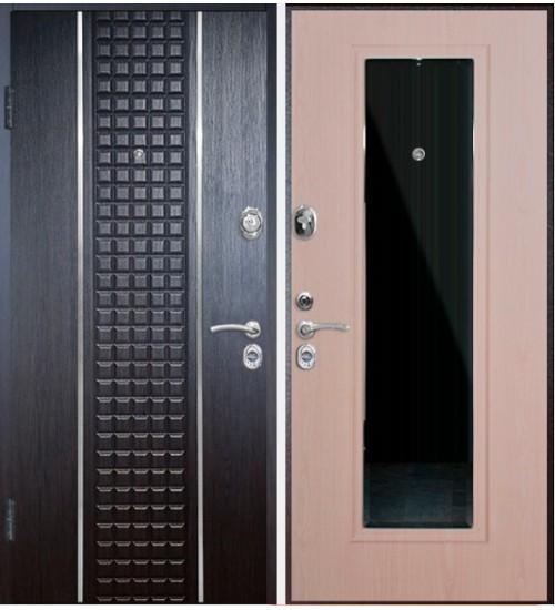 Стальная дверь Конструктор М-8 2мм медь+венге кантри/дуб беленый+зеркало