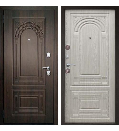 Стальная дверь Флоренция Винорит черный муар/беленый дуб